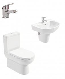 Chloe Semi Pedestal & Fully Shrouded WC Pack - Cosmos Basin Mixer - Special Offer