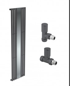 Amura Anthracite Single Panel with Mirror Heated Towel Rail - Special Offer