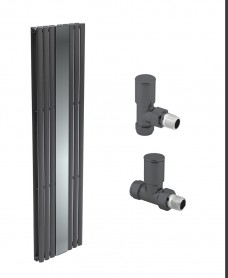 Amura Anthracite Double Panel with Mirror Heated Towel Rail - Special Offer