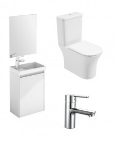 Dijon Cloakroom Gloss White Wall Hung & Amanda WC Pack - Special Offer