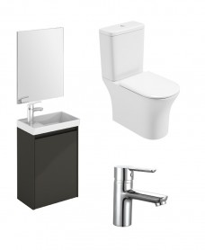 Dijon Cloakroom Gloss Grey Wall Hung & Amanda WC Pack - Special Offer