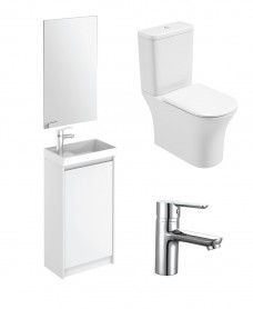Dijon Cloakroom Gloss White Floor Standing & Amanda WC Pack - Special Offer