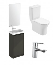 Dijon Cloakroom Gloss Grey Floor Standing & Amanda WC Pack - Special Offer