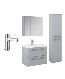 Otto Plus Light Gloss Grey 2 Drawer Wall Hung Mirror Cabinet Pack  - Special Offer