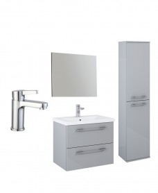 Otto Plus Light Gloss Grey 2 Drawer Wall Hung Mirror Pack   - Special Offer