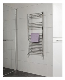 Straight 1200x600 Heated Towel Rail Chrome - * Special Offer - Includes Radiator Valves
