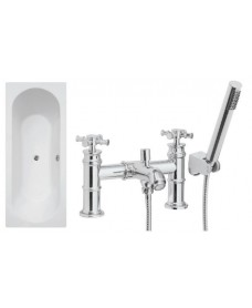 Clover Double Ended Bath - Special Offer* - Includes chrome SUTTON Bath Shower Mixer & Waste