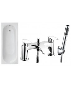 Lotus 1700 x 700 Single Ended Bath - Special Offer* - Includes chrome CORBY Bath Shower Mixer & Waste