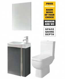 45 Prague Wall Hung Gloss Grey Unit & Tap & S600 WC - *Special Offer