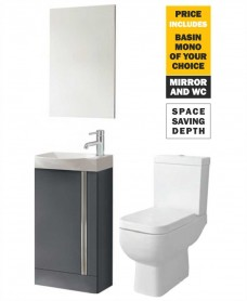 45 Prague Floor Gloss Grey Unit & Tap & S600 WC - *Special Offer