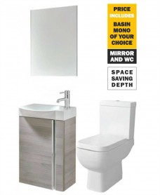 45 Prague Wall Hung Sandy Grey Unit & Tap & S600 WC - *Special Offer