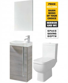 45 Prague Floor Sandy Grey Unit & Tap & S600 WC - *Special Offer