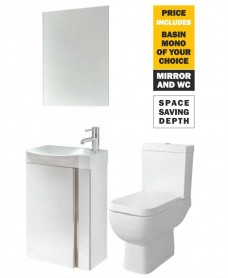 45 Prague Wall Hung White Unit & Tap & S600 WC - *Special Offer