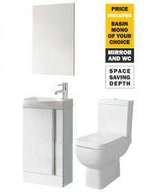 45 Prague Floor White Unit & Tap & S600 WC - *Special Offer