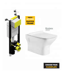 Claire Wall Hung Rimless WC with Quick Release Soft Closing SLIM Seat and Fastfix Frame