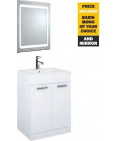 60 Turin White 2 Door Vanity Pack with Mirror and Tap - *Special Offer