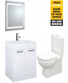 60 Turin White 2 Door Vanity Pack with Mirror, Tap and Tonique WC - *Special Offer