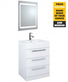 60 Turin White 3 Drawer Vanity Pack with Mirror and Tap - *Special Offer