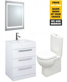 60 Turin White 3 Drawers Vanity Pack with Mirror, Tap and Tonique WC - *Special Offer