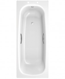Strata Single Ended 1600 x 700 Steel Bath - With Grips and Anti Slip