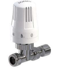 Straight Thermostatic Valve and Lockshield Set