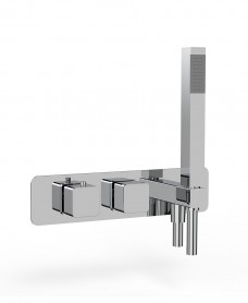 Quantum Soft Square Horizontal Dual Control Concealed Thermostatic Shower Valve