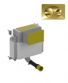 Concealed cistern for Back to Wall WC gold  fascia plate , circular