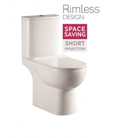 Verona Close Coupled RIMLESS Toilet and Soft Close Seat
