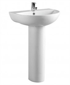 Verona 55 cm Basin and Full Pedestal 1 Tap Hole