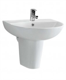 Verona 55 cm Basin and Semi Pedestal 1 Tap Hole