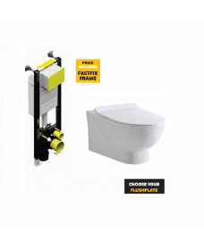Verona Wall Hung RIMLESS Toilet and Soft Close Seat and Fastfix Frame