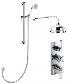 VIRGO Triple Control Shower Valve & Traditional Slide Rail Kit & Fixed Head