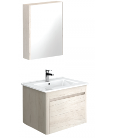 Ella 60 Light Wood Vanity Unit and 55 Mirror Cabinet - ** 50% Off While Stocks Last