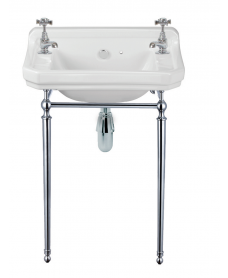 Westbury 50 cm Basin and Chrome Washstand 2 Tap Hole