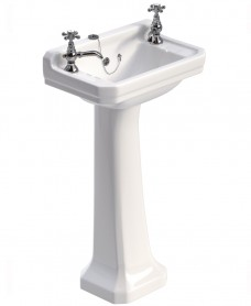Westbury 50 cm Basin and Full Pedestal 2 Tap Hole