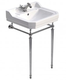 Westbury 55 cm Basin and Chrome Washstand 1 Tap Hole