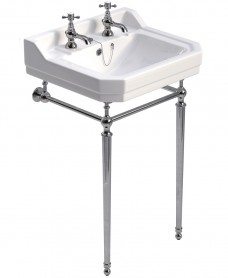 Westbury 55 cm Basin and Chrome Washstand 2 Tap Hole