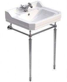 Westbury 61 cm Basin and Chrome Washstand 1 Tap Hole