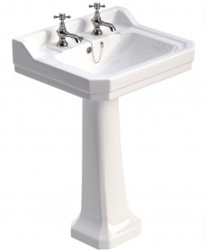Westbury 61 cm Basin and Full Pedestal 2 Tap Hole