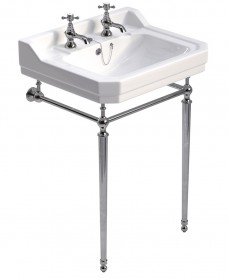 Westbury 61 cm Basin and Chrome Washstand 2 Tap Hole