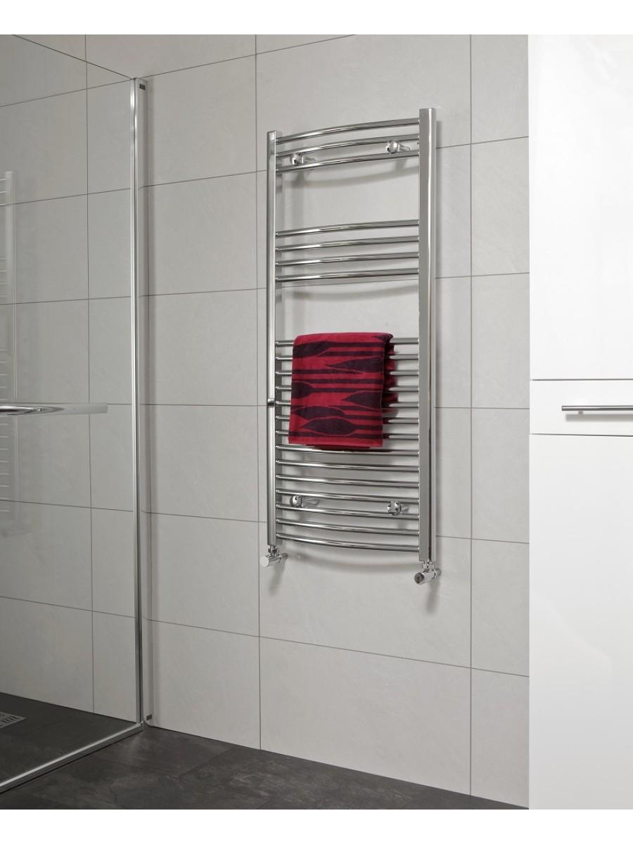 Curved 1200x600 Heated Towel Rail Chrome