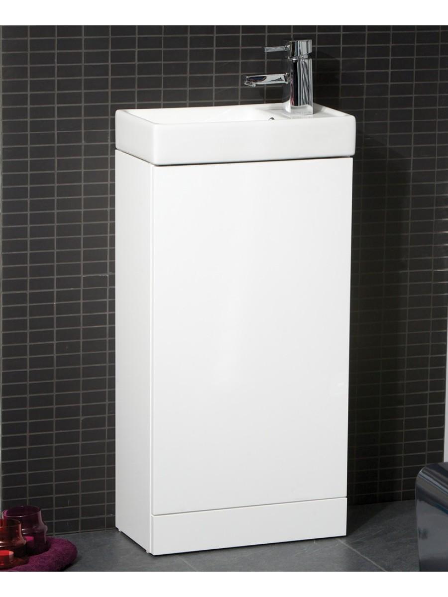 Basle 40cm White Floor Standing Unit & Cloakroom Basin
