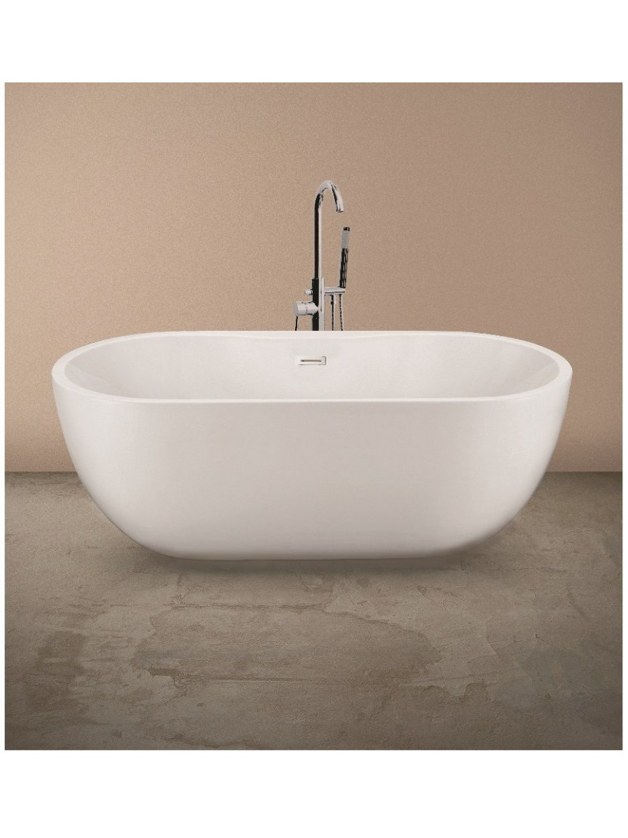 Chloe Freestanding Bath with Tap Ledge - 1655 x 750 - Contemporary ...