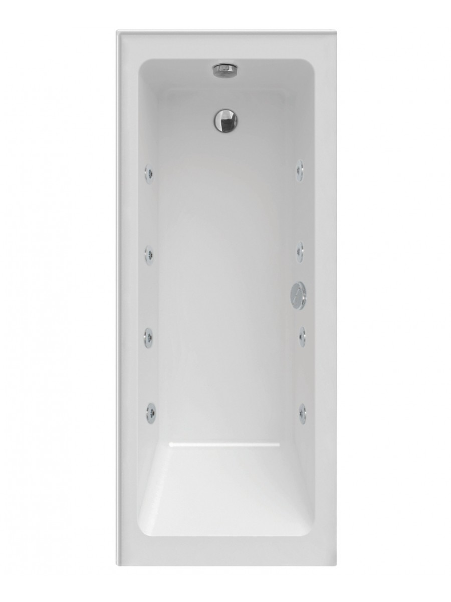 Piazza Single Ended 1700 x 700 Right Handed 8 Jet Whirlpool Bath With Upstands