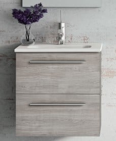 Paris 50 Sandy Grey Wall Hung Vanity Unit and Mirror Pack