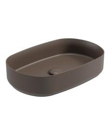Atelier Oval 55cm Vessel Basin with Ceramic Click Clack Waste - Ground Mocha