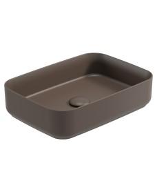 Atelier Square 50cm Vessel Basin with Ceramic Click Clack Waste - Ground Mocha
