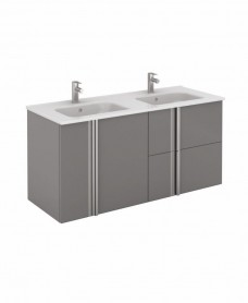 Avila Gloss Grey Wall Hung 120 Vanity Unit and SLIM Basin 2 door  2 drawer