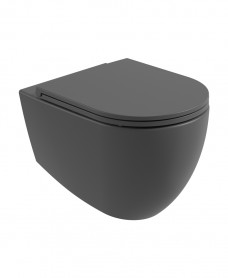 Atelier Wall Hung Rimless WC & Seat - Charcoal Grey