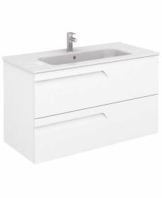 Brava 100 White Vanity Unit White and SLIM Basin
